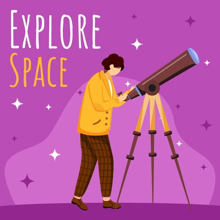 Explore space social media post mockup. Boy with telescope. Astronomy practice. Advertising web banner design template. Social media booster. Promotion poster, print ads with flat illustrations Illusztráció