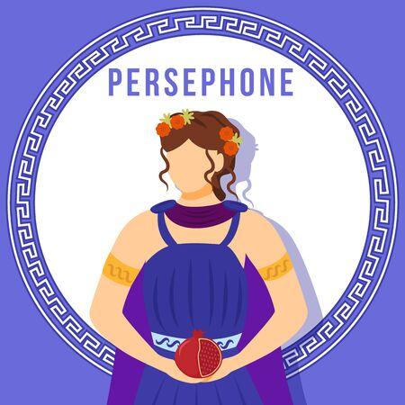 Persephone blue social media post mockup. Greek goddess. Mythological figure. Web banner design template. Social media booster, content layout. Poster, printable card with flat illustrations Ilustração