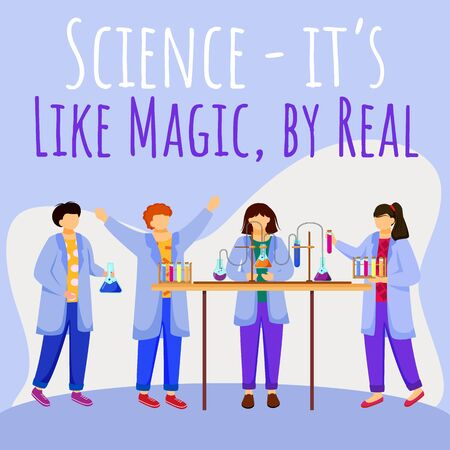 Science is like magic but real social media post mockup. Children and chemistry experiments. Advertising web banner design template. Social media booster. Promotion poster with flat illustrations Ilustração