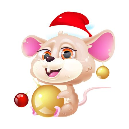 Cute mouse kawaii cartoon vector character. Symbol of 2020. Adorable and funny animal in Santa Claus hat with Christmas decorations isolated sticker, patch. Anime baby rat emoji on white background