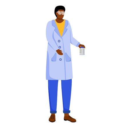 Scientist in lab coat with protection glasses flat vector illustration. Studying medicine, chemistry. Laboratory experiment. Woman with chemicals can isolated cartoon character on white background
