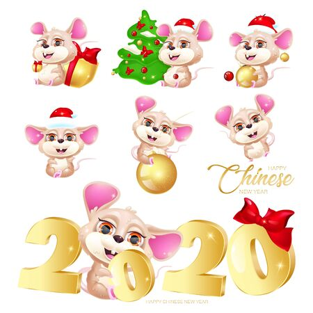 Cute mice kawaii cartoon characters stickers pack. Rat zodiac sign. Happy Chinese New Year flat illustration set with symbol of 2020. Social media vector emojis, emoticons vector collection