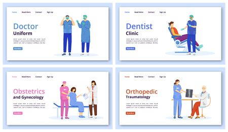 Medicine and healthcare landing page vector templates set. Dental clinic website interface idea with flat illustrations. Obstetrics and gynecology homepage layout. Web banner, webpage cartoon concept Ilustração