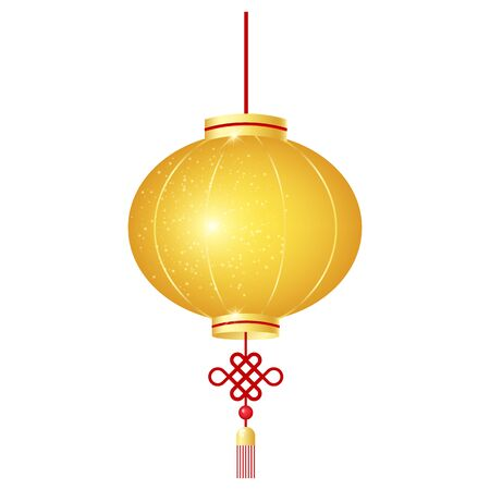 Chinese golden lantern cartoon vector illustration. Symbol of Asian New Year. Oriental holiday sign of prosperity. Yellow holiday paper lamp isolated sticker, patch on white background Ilustração