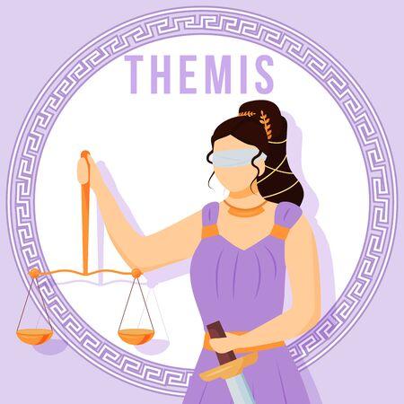 Themis violet social media post mockup. Ancient Greek titaness. Mythological figure. Web banner design template. Social media booster, content layout. Poster, printable card with flat illustrations Ilustração