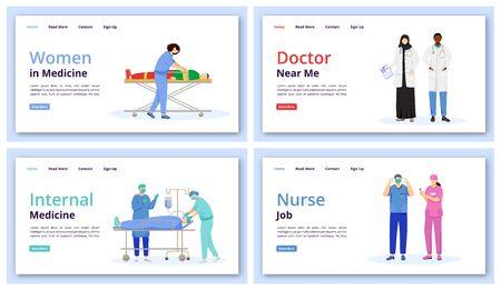 Healthcare and medicine landing page vector template set. Doctor near me website interface idea with flat illustration. Internal medicine homepage layout. Nurse job web banner, webpage cartoon concept