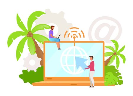 Internet provider flat vector illustration. Virtual office. Remote work. Flexible workspace. Wireless connection. Wi-Fi. Indonesian business. Isolated cartoon character on white background