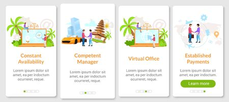 Indonesian business onboarding mobile app screen vector template. Virtual office, internet provider. Walkthrough website steps with flat characters. UX, UI, GUI smartphone cartoon interface concept 版權商用圖片 - 134833785