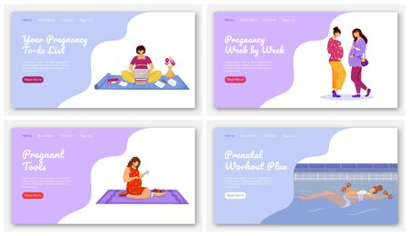 Happy pregnancy landing page vector template set. Maternity preparation website interface idea with flat illustrations. Expectation of baby homepage layout. Web banner, webpage cartoon concept 일러스트