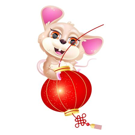 Cute mouse riding lantern kawaii cartoon vector character. 2020 Chinese New Year symbol. Asian zodiac sign. Adorable and funny animal isolated sticker, patch. Anime baby rat emoji on white background