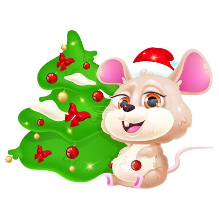 Cute rat kawaii cartoon vector character. Asian zodiac symbol of 2020 year. Adorable and funny animal sitting near Christmas tree isolated sticker, patch. Anime baby mouse emoji on white background Ilustração