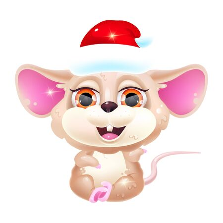 Cute mouse kawaii cartoon vector character. Chinese New Year symbol of 2020. Adorable and funny sitting animal in Santa Claus hat isolated sticker, patch. Anime baby rat emoji on white background Ilustração