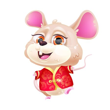 Cute mouse kawaii cartoon vector character. 2020 Chinese New Year. Adorable and funny animal in national red costume isolated sticker, patch. Anime baby rat emoji on white background