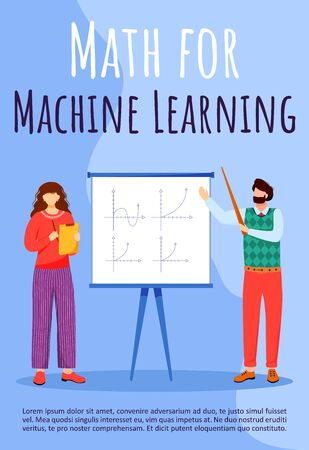 Math for machine learning poster vector template. Professor and student at lesson. Brochure, cover, booklet page concept design with flat illustrations. Advertising flyer, leaflet, banner layout idea