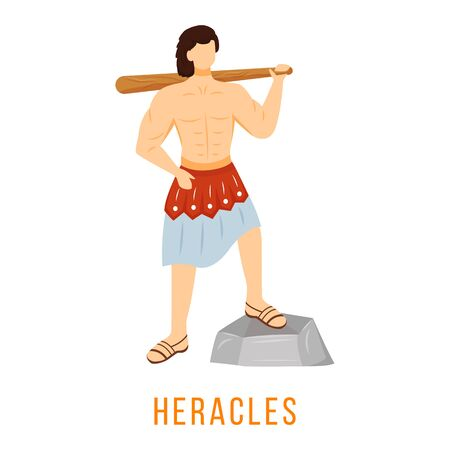 Illustrazione di vettore piatto di Eracle. Antica divinità greca. Eroe divino, figura mitologica. Simbolo di mascolinità. Personaggio dei cartoni animati isolato su sfondo bianco Vettoriali