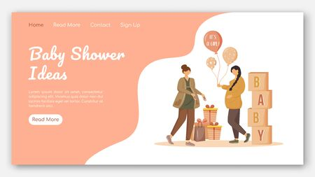Baby shower ideas landing page vector template. Party for expecting mother website interface idea with flat illustrations. Maternity preparation homepage layout. Web banner, webpage cartoon concept
