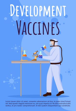 Development of vaccines poster vector template. Man in protection suit. Brochure, cover, booklet page concept design with flat illustrations. Advertising flyer, leaflet, banner layout idea Ilustração
