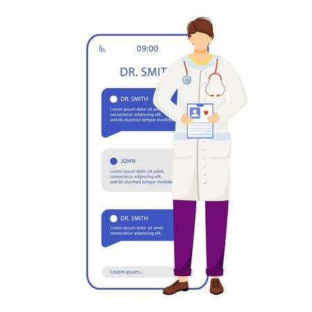 Online doctor consultation smartphone vector app screen. Chat with medical specialist. Mobile phone displays with cartoon characters design mockup. Telemedicine application telephone interface