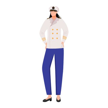 Sailor flat vector illustration. Seawoman in captain uniform. Maritime academy. Marine occupation. Seafarer isolated cartoon character on white background