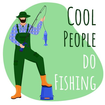 Cool people do fishing social media post mockup. Fisherman with rod. Advertising web banner design template. Social media booster, content layout. Promotion poster, print ads with flat illustrations Ilustração