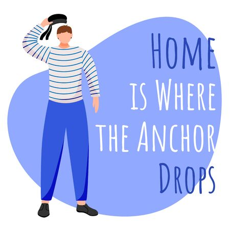 Home is where the anchors drop social media post mockup. Sailors saying. Maritime quote. Web banner design template. Social media booster, content layout. Poster, print ads with flat illustrations Ilustração