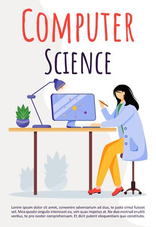 Computer science poster vector template. Scientist using modern technologies for research. Brochure, cover, booklet concept design with flat illustrations. Advertising flyer, banner layout idea Ilustração