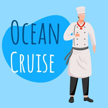 Ocean cruise social media post mockup. Professional cook, chef. Advertising web banner design template. Social media booster, content layout. Promotion poster, print ads with flat illustrations