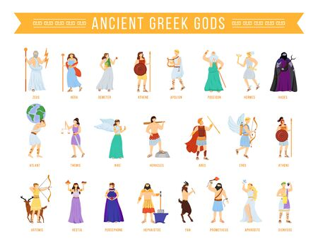 Ancient Greek pantheon gods and goddesses flat vector illustrations set. Titans and heroes. Mythology. Olympian deities. Divine mythological figures. Isolated cartoon characters