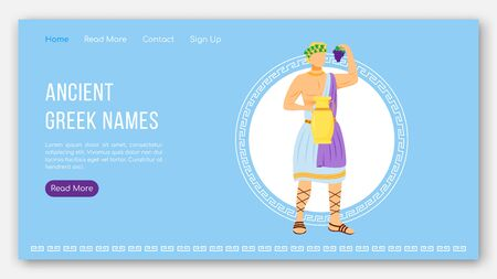 Ancient greek names landing page vector template. Greek pantheon. Mythology tradition website interface idea with flat illustrations. Homepage layout, web banner, webpage cartoon concept