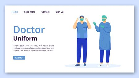 Doctor uniform landing page vector template. Doctor coat, mask and caps website interface idea with flat illustrations. Surgeon, doctor homepage layout. Clinic web banner, webpage cartoon concept