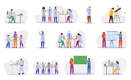 Practical science flat vector illustration set. Chemistry in school. Activities for children. Conducting experiments. Studying biology, chemistry isolated cartoon character on white background Ilustrace