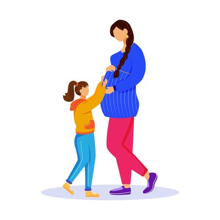Pregnant woman and little girl flat vector illustration. Maternity preparation. Happy family waiting for baby. Lady shows tummy to daughter isolated cartoon characters on white background