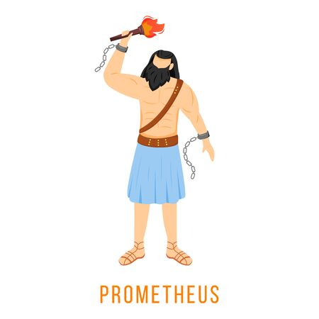 Prometheus flat vector illustration. Titan, hero. Creator of humanity. Ancient Greek deity. Mythology. Divine mythological figure. Isolated cartoon character on white background Illustration
