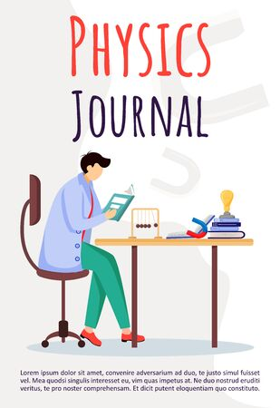 Physics journal poster vector template. Scientist reads at working place. Brochure, cover, booklet page concept design with flat illustrations. Advertising flyer, leaflet, banner layout idea Ilustrace