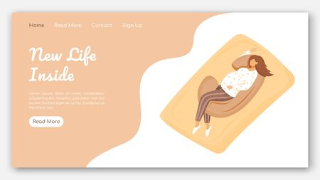 New life inside landing page vector template. Maternity products website interface idea with flat illustrations. Healthy sleep homepage layout. Pregnancy pillow web banner, webpage cartoon concept
