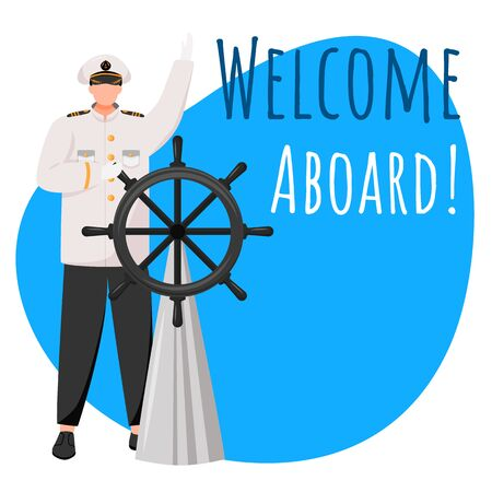 Welcome aboard social media post mockup. Ship captain on deck. Advertising web banner design template. Social media booster, content layout. Promotion poster, print ads with flat illustrations
