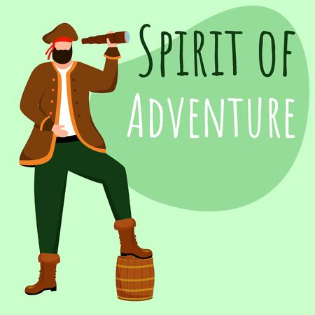 Spirit of adventure social media post mockup. Pirate with spyglass. Advertising web banner design template. Social media booster, content layout. Promotion poster, print ads with flat illustrations