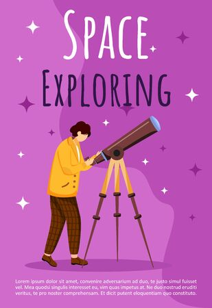 Space exploring poster vector template. Boy with telescope. Astronomy practice. Brochure, cover, booklet page concept design with flat illustrations. Advertising flyer, leaflet, banner layout idea