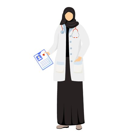 Arab female doctor flat vector illustration. Saudi woman in medical white coat and hijab. Muslim physician, general practitioner. Arabic medic, therapist cartoon character isolated on white