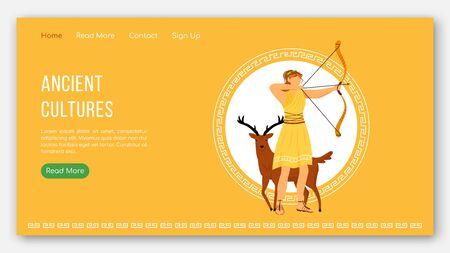 Ancient cultures landing page vector template. Greek gods pantheon. Mythology tradition website interface idea with flat illustrations. Homepage layout, web banner, webpage cartoon concept Ilustração