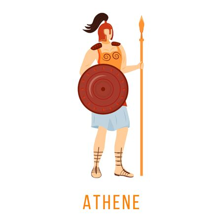 Athene flat vector illustration. Ancient Greek deity. Goddess of wisdom and courage. Mythology. Divine mythological figure. Isolated cartoon character on white background