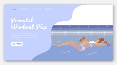Prenatal workout plan landing page vector template. Aqua fitness class for pregnant website interface idea with flat illustrations. Happy pregnancy homepage layout. Web banner, webpage cartoon concept
