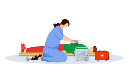 Emergency doctor giving first aid with defibrillator flat illustration. Paramedic, medic and injured patient cartoon characters. Reanimation, urgency care medical specialist, rescuer isolated on white