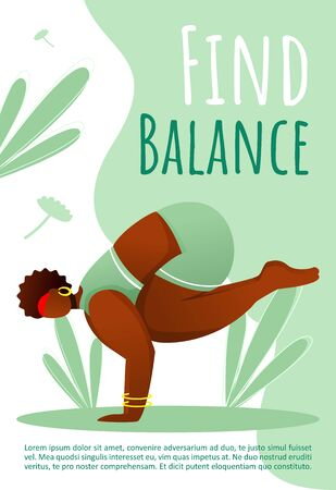 Find balance brochure template. Active and healthy lifestyle. Yoga pose. Bodypositive flyer, booklet, leaflet concept with flat illustrations. Vector page cartoon layout for magazine with text space Ilustração