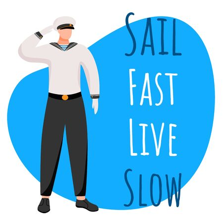 Sail fast live slow social media post mockup. Crew member. Maritime motivational quote.Web banner design template. Social media booster, content layout. Poster, print ads with flat illustrations