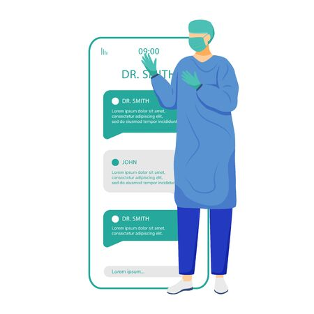 Online chat with surgeon smartphone app screen. Remote doctor consultation. Ask medical specialist. Mobile phone displays with cartoon characters mockup. Telemedicine application telephone interface