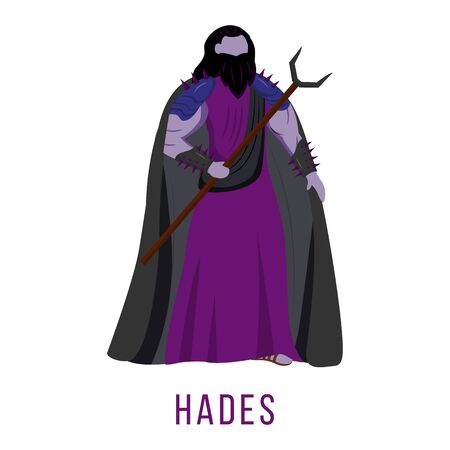 Hades flat vector illustration. Ancient Greek deity. God of death. Ruler of underworld. Divine mythological figure. Isolated cartoon character on white background 矢量图像