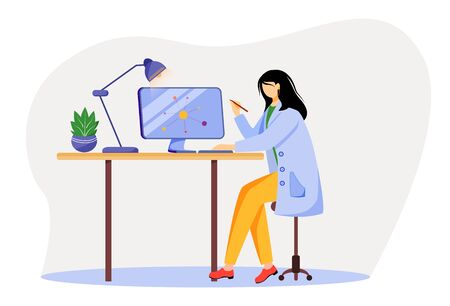 Scientist at working place flat vector illustration. Woman in blue lab coat. University professor. Physicist using computer for research isolated cartoon character on white background