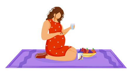 Pregnant woman taking medication flat vector illustration. Healthcare. Healthy nutrition. Young caucasian lady using vitamin tablets in pregnancy cartoon character on white background
