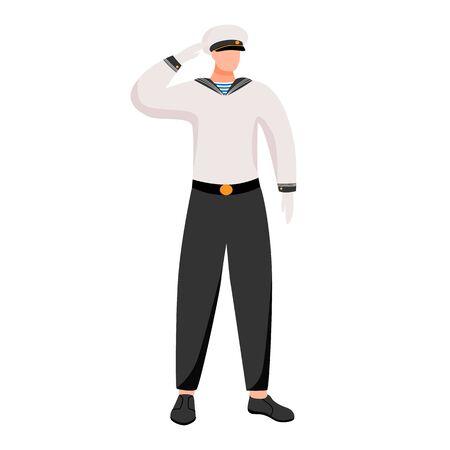Seafarer flat vector illustration. Maritime occupation on passenger or merchant navy. Seaman in work uniform. Sailor isolated cartoon character on white background Vector Illustration